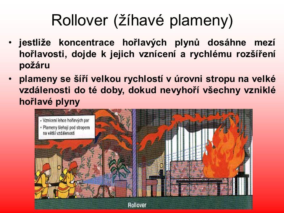 Rollover (žíhavé plameny) •zasahující hasiči se musí pohybovat v ohrožených prostorách při zemi a s nejvyšší opatrností, •při hasebních pracích je důležité se soustředit na uhašení ohniska požáru, neboť rollover vzniká pouze při intenzivním vývinu hořlavých plynů a par http://www.youtube.com/watch?v=xJkv1xS-1YY&NR=1 http://www.youtube.com/watch?v=PaF8ope1F2s&feature=related