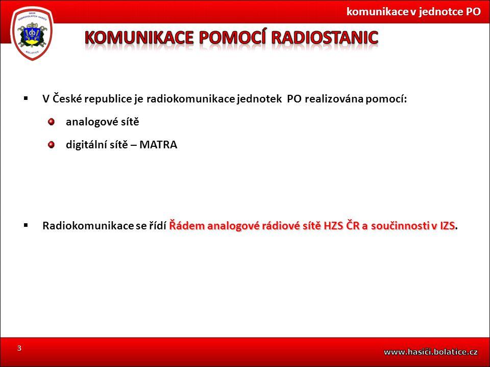 3  V České republice je radiokomunikace jednotek PO realizována pomocí: analogové sítě digitální sítě – MATRA Řádem analogové rádiové sítě HZS ČR a s