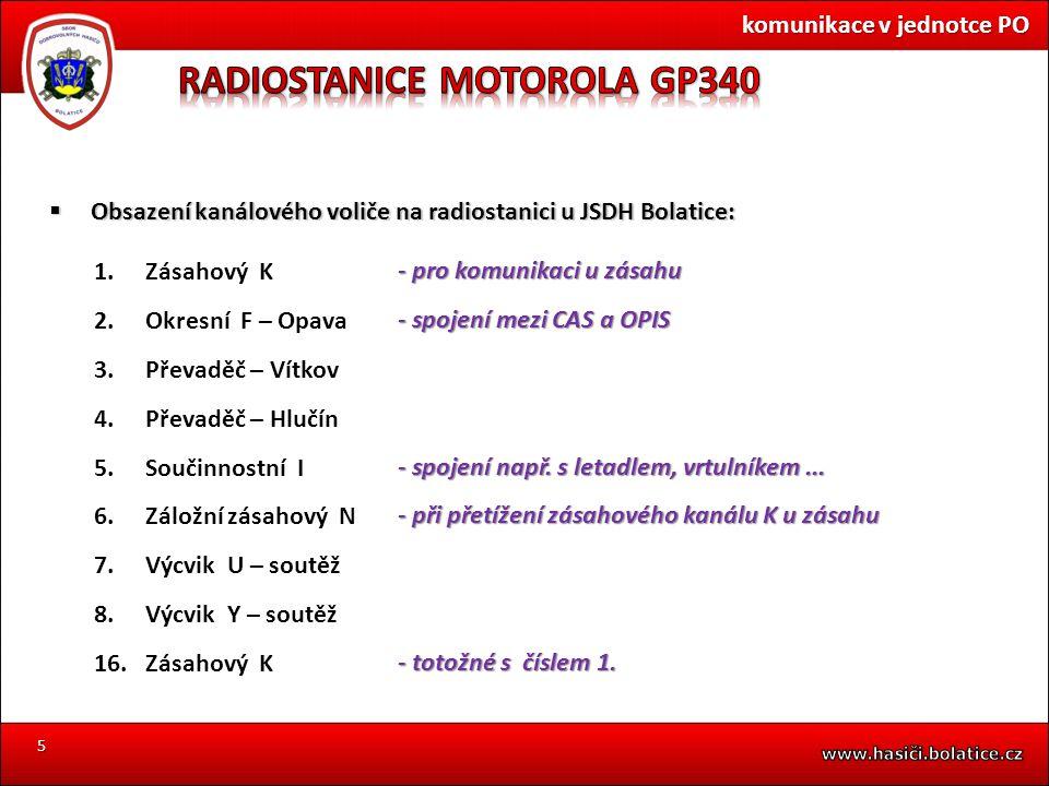 5  Obsazení kanálového voliče na radiostanici u JSDH Bolatice: 1.Zásahový K 2.Okresní F – Opava 3.Převaděč – Vítkov 4.Převaděč – Hlučín 5.Součinnostn
