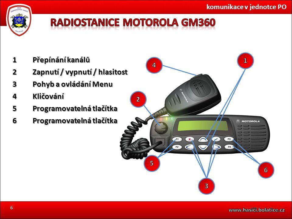 6 komunikace v jednotce PO 1Přepínání kanálů 2Zapnutí / vypnutí / hlasitost 3Pohyb a ovládání Menu 4Kličování 5Programovatelná tlačítka 6Programovatel