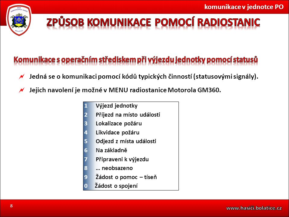 8  Jedná se o komunikaci pomocí kódů typických činností (statusovými signály).  Jejich navolení je možné v MENU radiostanice Motorola GM360. komunik