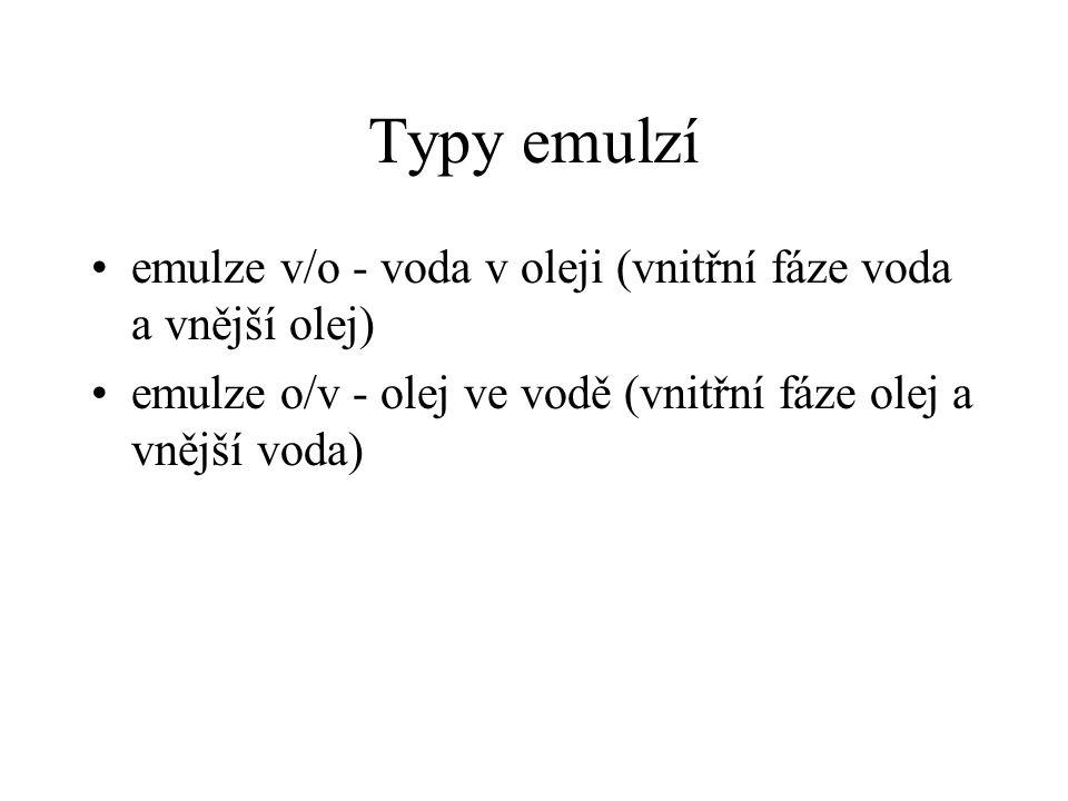 Typy emulzí •emulze v/o - voda v oleji (vnitřní fáze voda a vnější olej) •emulze o/v - olej ve vodě (vnitřní fáze olej a vnější voda)