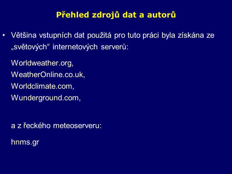 """Přehled zdrojů dat a autorů •Většina vstupních dat použitá pro tuto práci byla získána ze """"světových internetových serverů: Worldweather.org, WeatherOnline.co.uk, Worldclimate.com, Wunderground.com, a z řeckého meteoserveru: hnms.gr"""