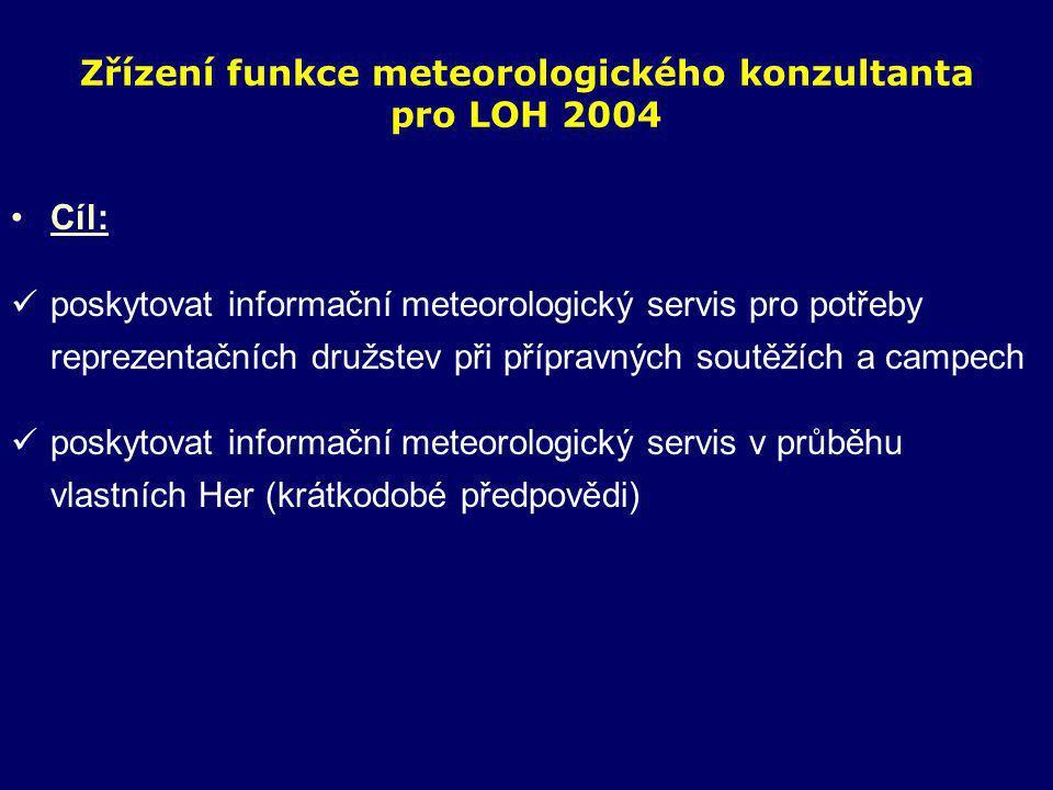 Zřízení funkce meteorologického konzultanta pro LOH 2004 •Cíl:  poskytovat informační meteorologický servis pro potřeby reprezentačních družstev při přípravných soutěžích a campech  poskytovat informační meteorologický servis v průběhu vlastních Her (krátkodobé předpovědi)