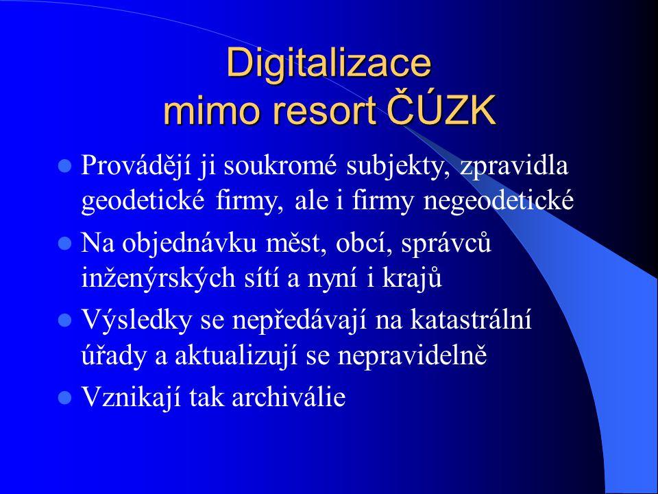 Digitalizace mimo resort ČÚZK  Provádějí ji soukromé subjekty, zpravidla geodetické firmy, ale i firmy negeodetické  Na objednávku měst, obcí, správ