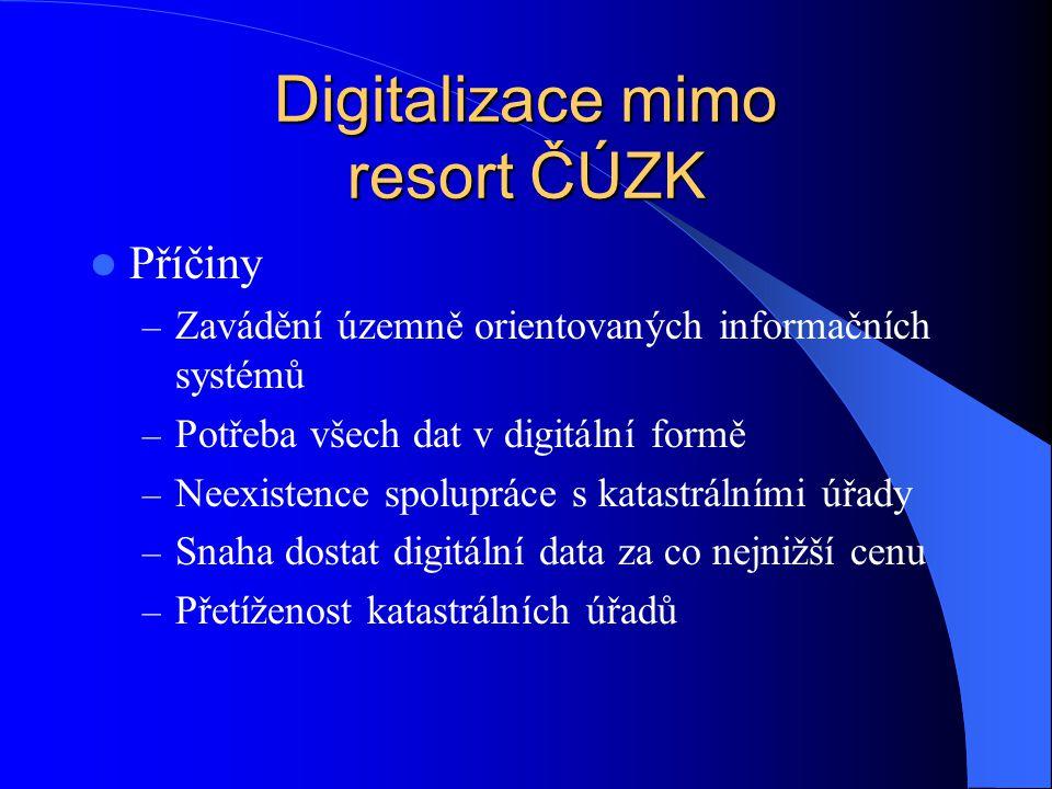 Digitalizace mimo resort ČÚZK  Důsledky – Vznik mnohdy nekvalitních digitálních map  Mapy se digitalizují –z papírových kopií –z rastrů PET folií –nepoužijí se mapy PK –a transformují do JTSK bez použití identických bodů –neprováděna kontrola souladu SPI a SGI –atd.
