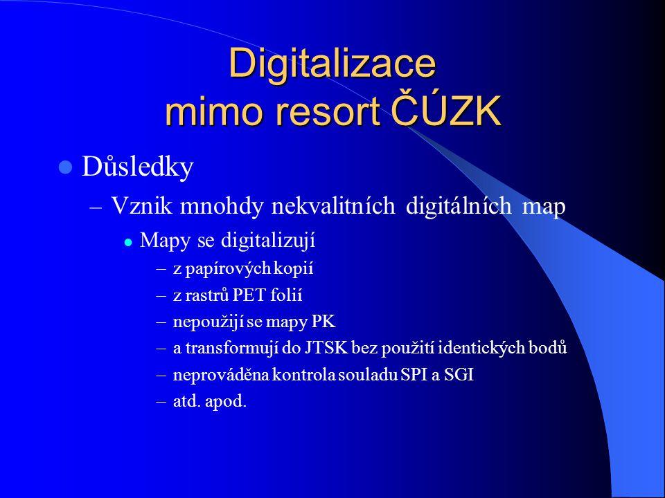 Digitalizace mimo resort ČÚZK  Důsledky – Vznik mnohdy nekvalitních digitálních map  Mapy se digitalizují –z papírových kopií –z rastrů PET folií –n