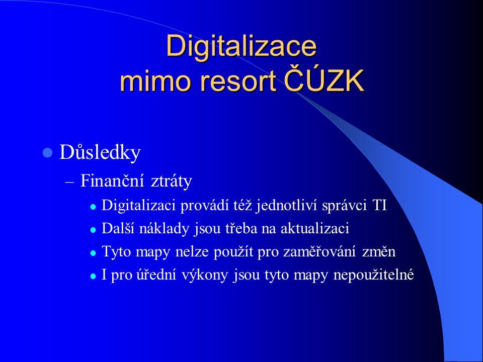 Digitalizace mimo resort ČÚZK  Důsledky – Finanční ztráty  Digitalizaci provádí též jednotliví správci TI  Další náklady jsou třeba na aktualizaci