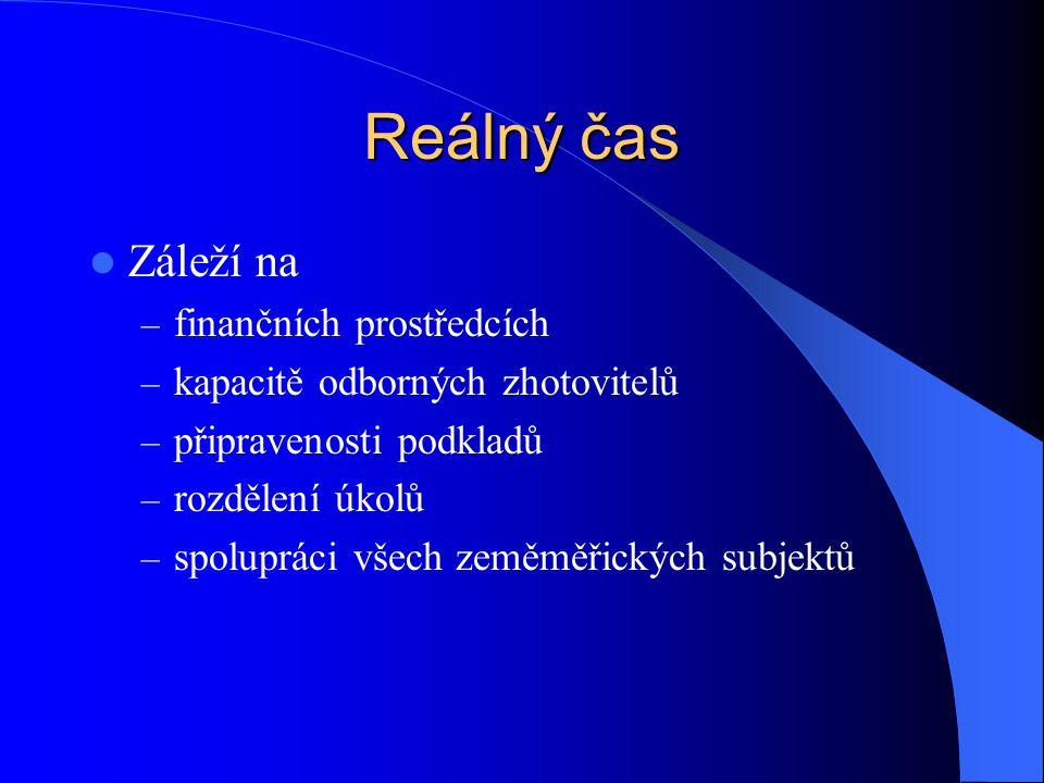 Reálný čas  Záleží na – finančních prostředcích – kapacitě odborných zhotovitelů – připravenosti podkladů – rozdělení úkolů – spolupráci všech zeměmě