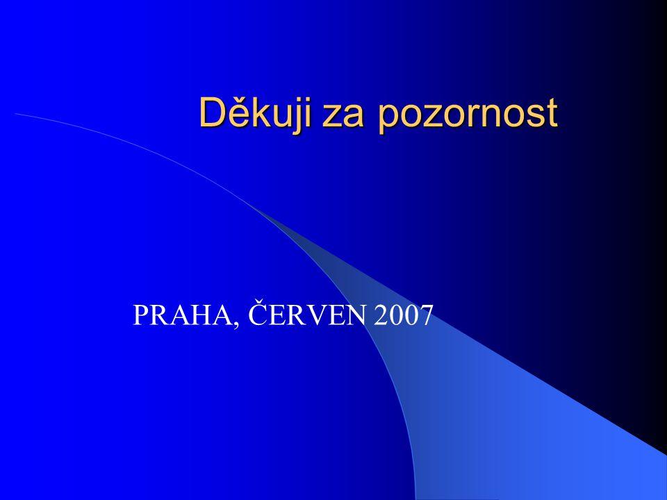 Děkuji za pozornost PRAHA, ČERVEN 2007