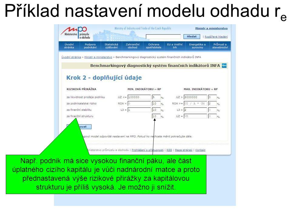 Příklad nastavení modelu odhadu r e Např. podnik má sice vysokou finanční páku, ale část úplatného cizího kapitálu je vůči nadnárodní matce a proto př