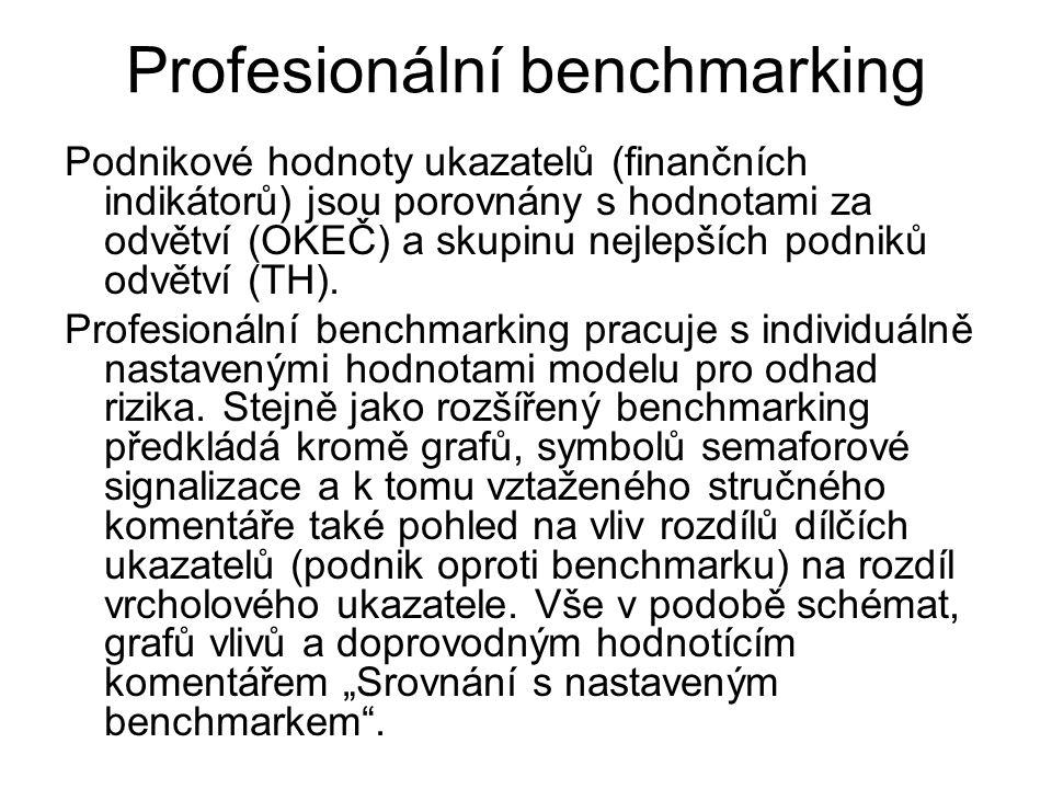 Profesionální benchmarking Podnikové hodnoty ukazatelů (finančních indikátorů) jsou porovnány s hodnotami za odvětví (OKEČ) a skupinu nejlepších podni
