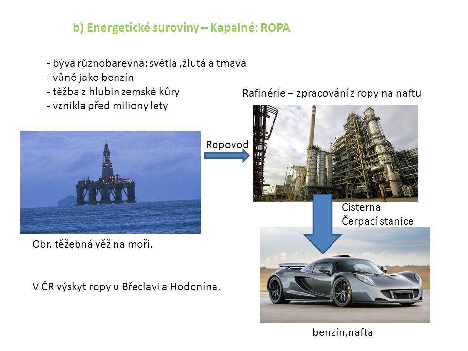 b) Energetické suroviny – Kapalné: ROPA - bývá různobarevná: světlá,žlutá a tmavá - vůně jako benzín - těžba z hlubin zemské kůry - vznikla před milio