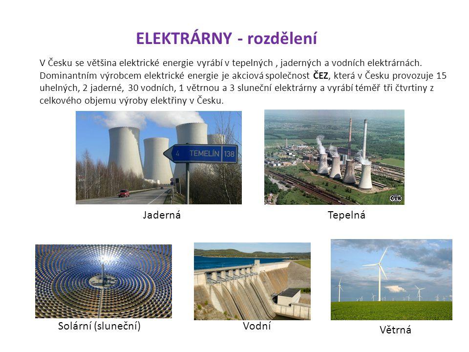 V ČR jsou 2 jaderné elektrárny v Temelíně a Dukovanech.