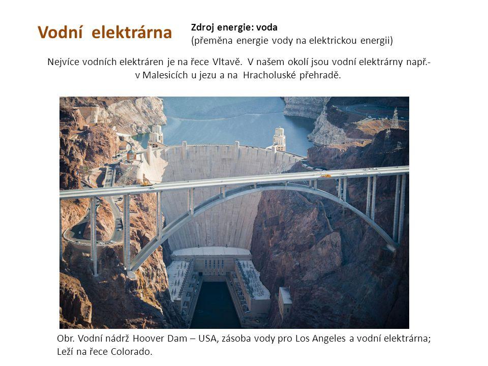 Vodní elektrárna Zdroj energie: voda (přeměna energie vody na elektrickou energii) Obr. Vodní nádrž Hoover Dam – USA, zásoba vody pro Los Angeles a vo