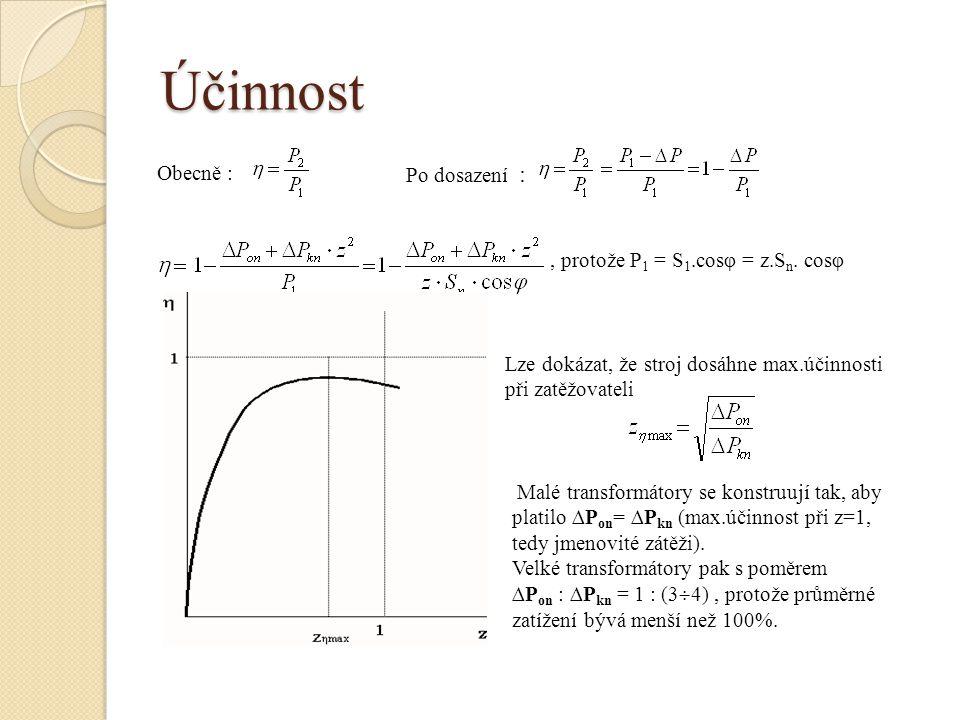 Účinnost Obecně : Po dosazení :, protože P 1 = S 1.cosφ = z.S n. cosφ Lze dokázat, že stroj dosáhne max.účinnosti při zatěžovateli Malé transformátory