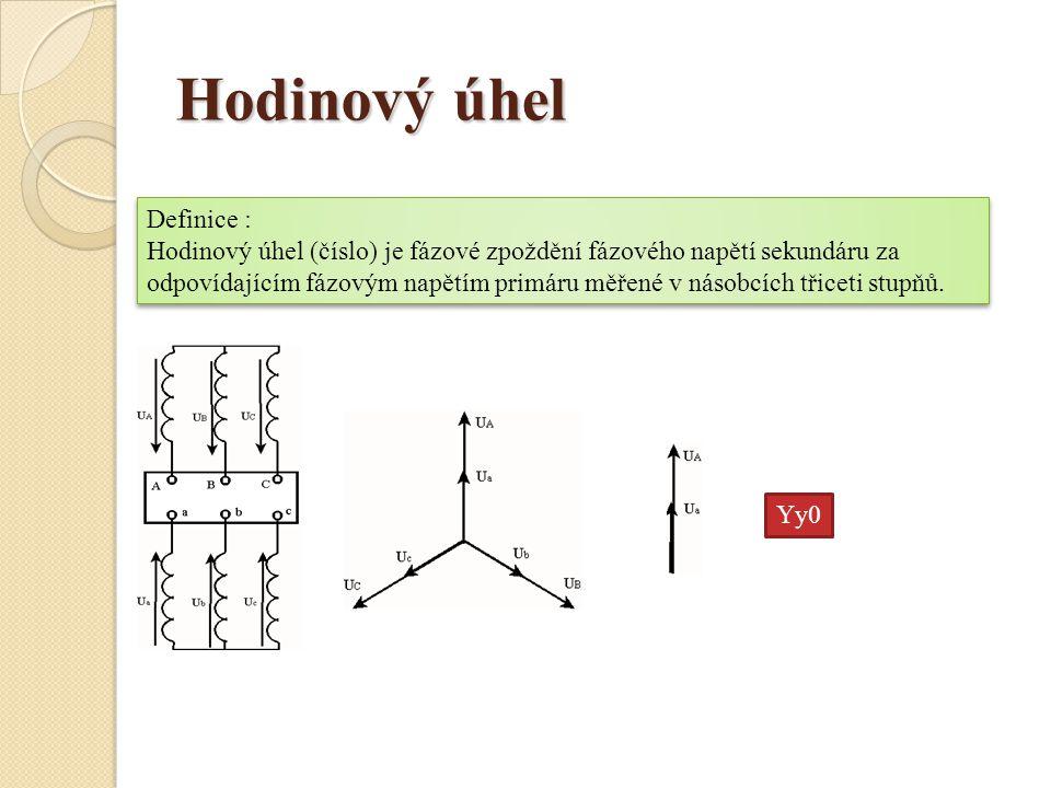 Hodinový úhel Definice : Hodinový úhel (číslo) je fázové zpoždění fázového napětí sekundáru za odpovídajícím fázovým napětím primáru měřené v násobcíc