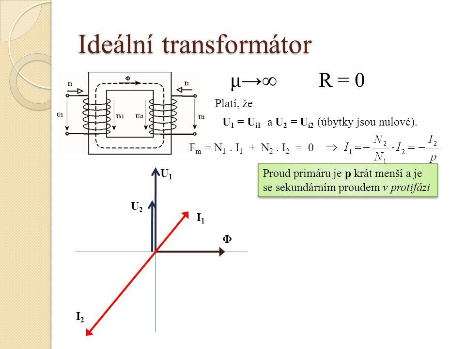 Ideální transformátor μ→∞R = 0 U 1 = U i1 a U 2 = U i2 (úbytky jsou nulové). Platí, že F m = N 1. I 1 + N 2. I 2 = 0 Proud primáru je p krát menší a j