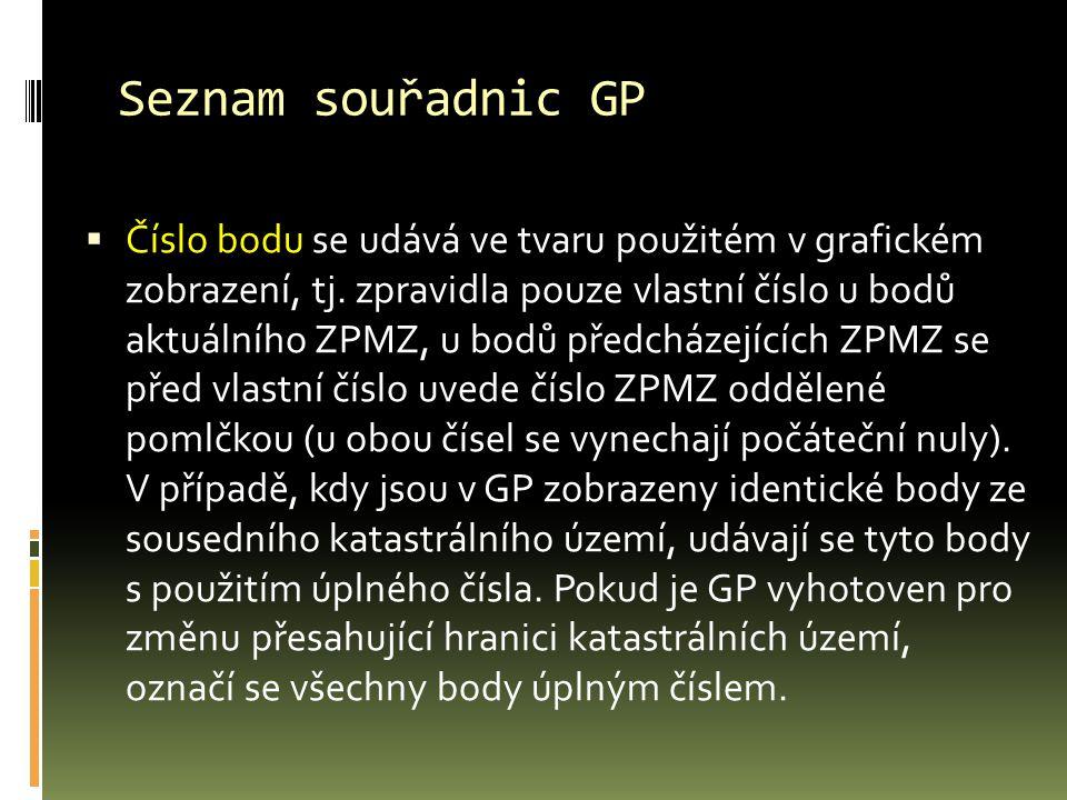 Seznam souřadnic GP  Číslo bodu se udává ve tvaru použitém v grafickém zobrazení, tj.