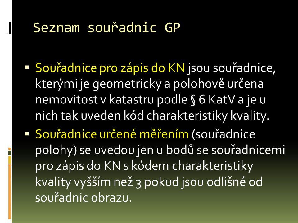 Seznam souřadnic GP  Souřadnice pro zápis do KN jsou souřadnice, kterými je geometricky a polohově určena nemovitost v katastru podle § 6 KatV a je u nich tak uveden kód charakteristiky kvality.
