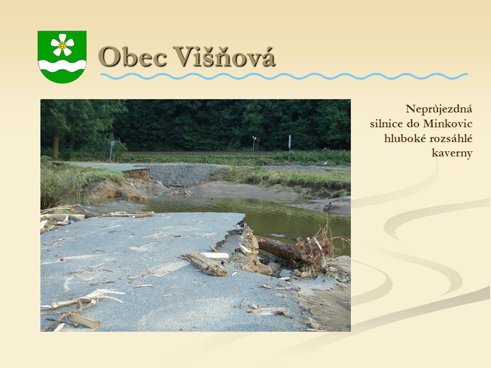Obec Višňová Obec Višňová Neprůjezdná silnice do Minkovic hluboké rozsáhlé kaverny
