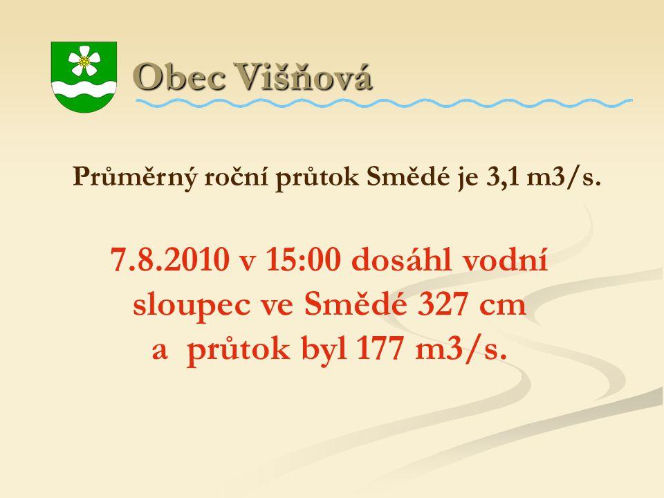 Obec Višňová Obec Višňová Průměrný roční průtok Smědé je 3,1 m3/s. 7.8.2010 v 15:00 dosáhl vodní sloupec ve Smědé 327 cm a průtok byl 177 m3/s.