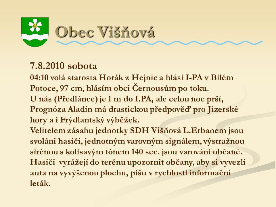 Obec Višňová Obec Višňová 7.8.2010 sobota 04:10 volá starosta Horák z Hejnic a hlásí I-PA v Bílém Potoce, 97 cm, hlásím obci Černousům po toku. U nás