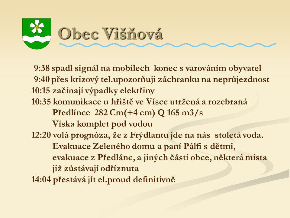 Obec Višňová Obec Višňová 9:38 spadl signál na mobilech konec s varováním obyvatel 9:40 přes krizový tel.upozorňuji záchranku na neprůjezdnost 10:15 z