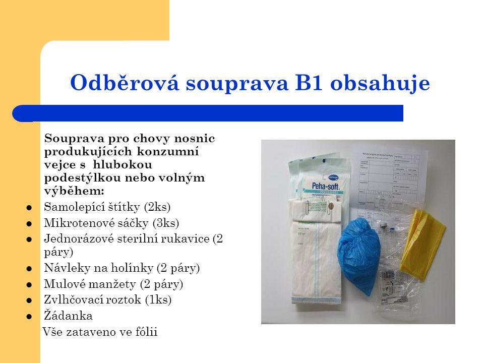 Odběrová souprava B1 obsahuje Souprava pro chovy nosnic produkujících konzumní vejce s hlubokou podestýlkou nebo volným výběhem:  Samolepící štítky (