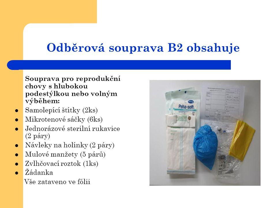Odběrová souprava B2 obsahuje Souprava pro reprodukční chovy s hlubokou podestýlkou nebo volným výběhem:  Samolepící štítky (2ks)  Mikrotenové sáčky
