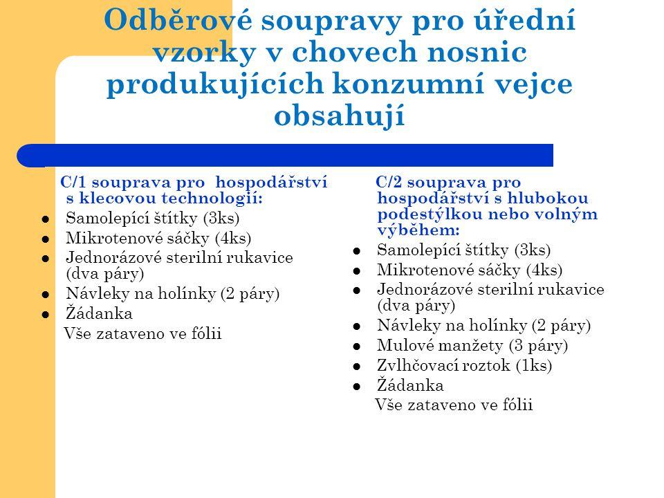 Odběrové soupravy pro úřední vzorky v chovech nosnic produkujících konzumní vejce obsahují C/1 souprava pro hospodářství s klecovou technologií:  Sam