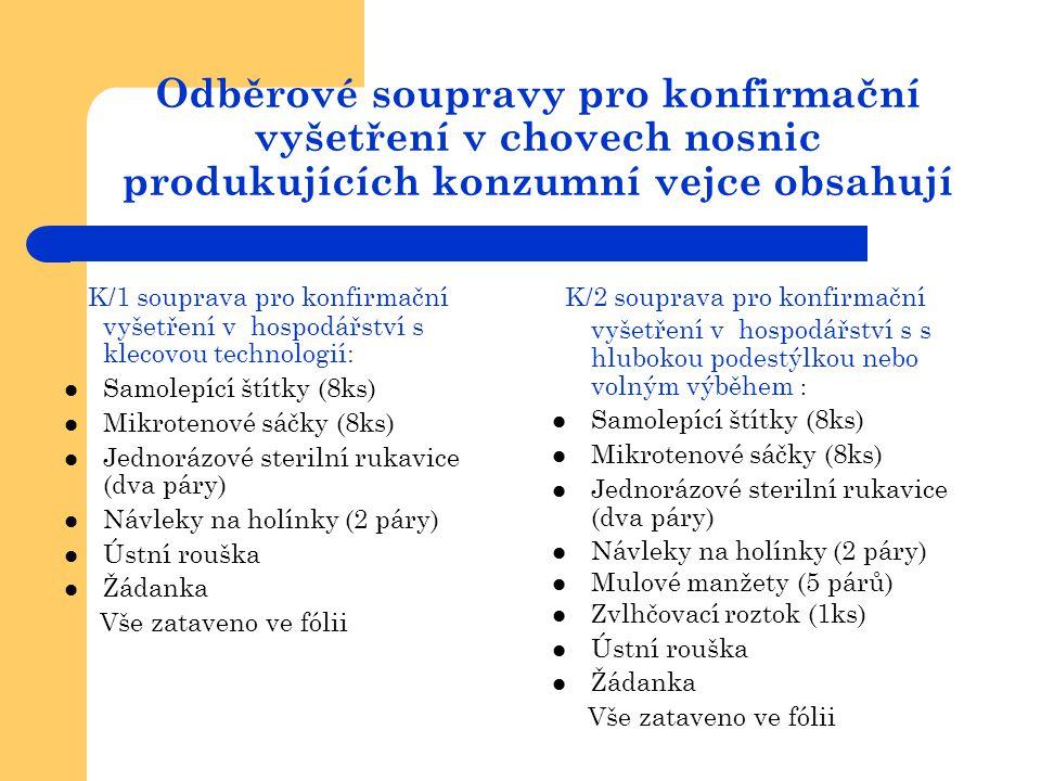 Odběrové soupravy pro konfirmační vyšetření v chovech nosnic produkujících konzumní vejce obsahují K/1 souprava pro konfirmační vyšetření v hospodářst