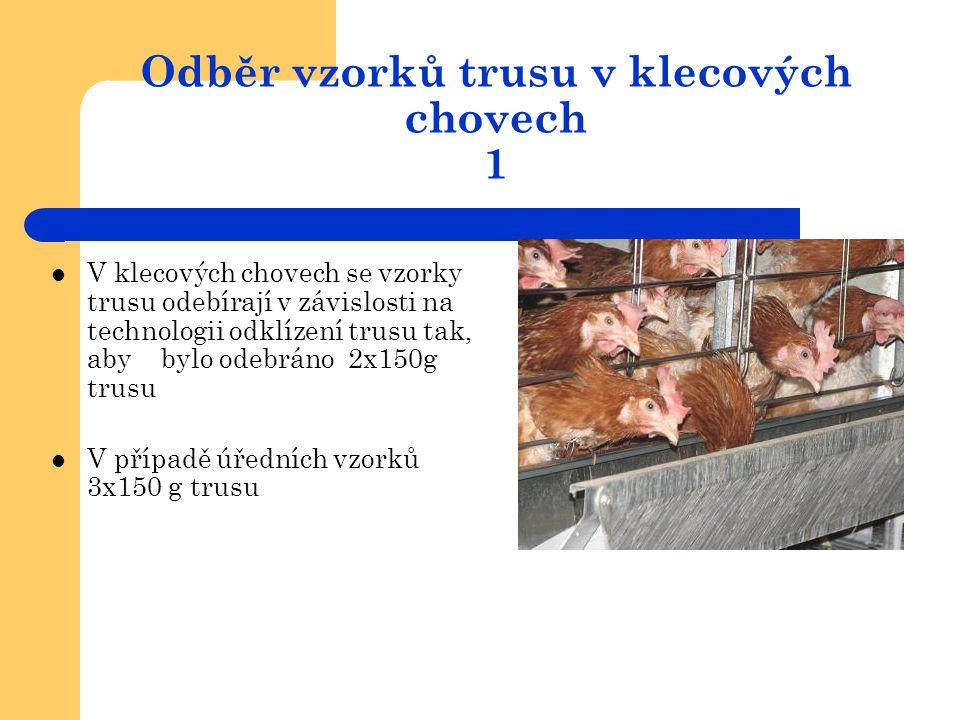 Odběr vzorků trusu v klecových chovech 1  V klecových chovech se vzorky trusu odebírají v závislosti na technologii odklízení trusu tak, aby bylo ode