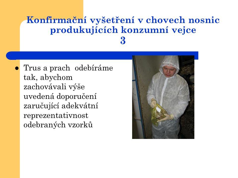 Konfirmační vyšetření v chovech nosnic produkujících konzumní vejce 3  Trus a prach odebíráme tak, abychom zachovávali výše uvedená doporučení zaruču