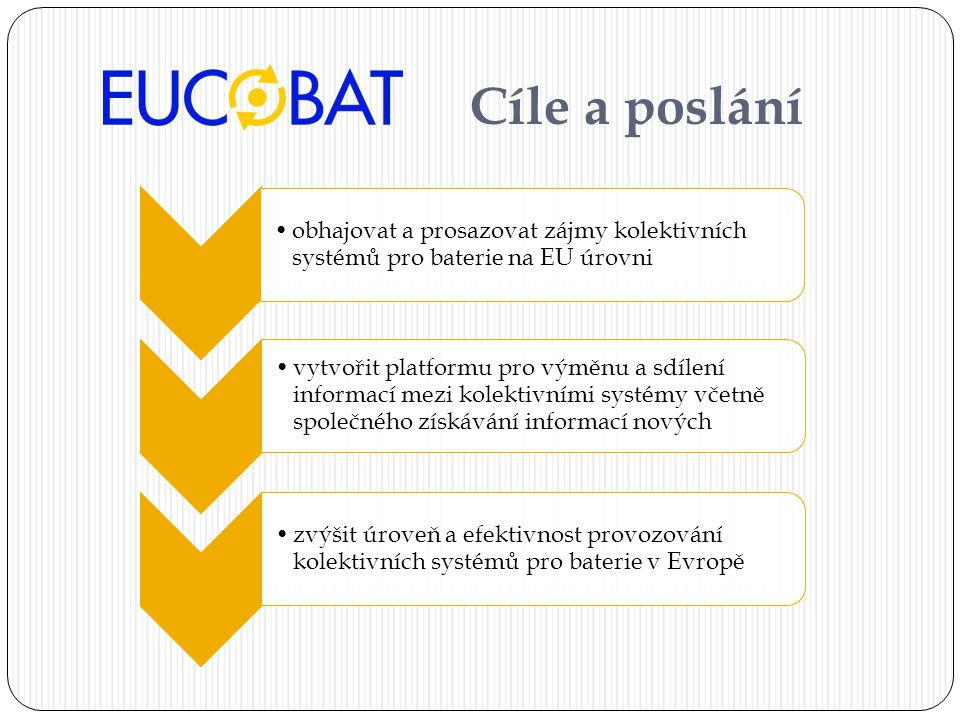 Cíle a poslání •obhajovat a prosazovat zájmy kolektivních systémů pro baterie na EU úrovni •vytvořit platformu pro výměnu a sdílení informací mezi kolektivními systémy včetně společného získávání informací nových •zvýšit úroveň a efektivnost provozování kolektivních systémů pro baterie v Evropě