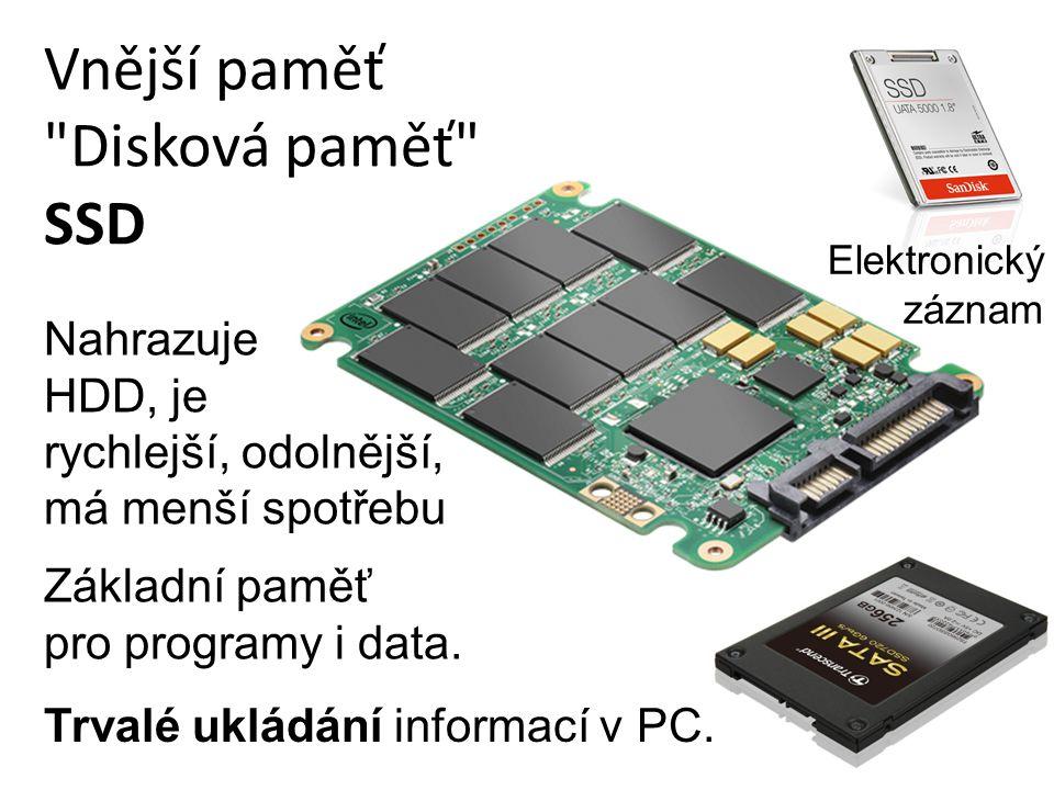 Vnější paměť Disková paměť SSD Trvalé ukládání informací v PC.
