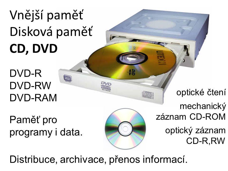 Vnější paměť Disková paměť CD, DVD Distribuce, archivace, přenos informací. Paměť pro programy i data. DVD-R DVD-RW DVD-RAM optické čtení mechanický z