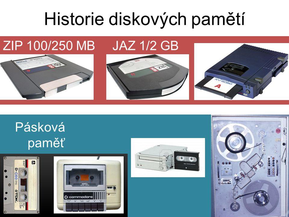 ZIP 100/250 MB Historie diskových pamětí Pásková paměť JAZ 1/2 GB
