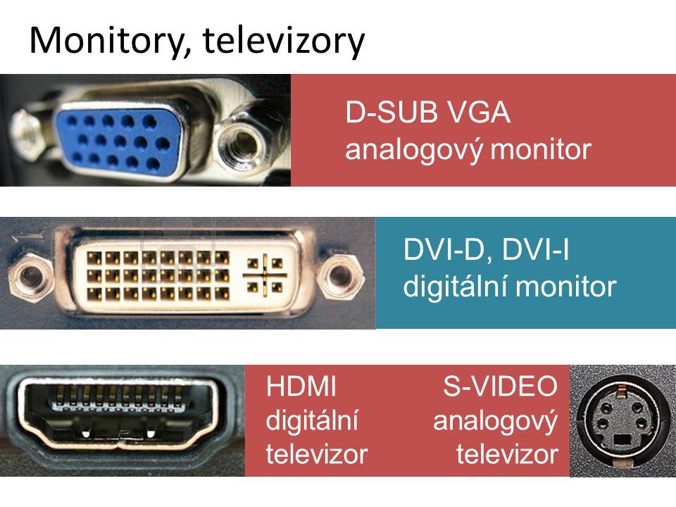 HDMI digitální televizor Monitory, televizory DVI-D, DVI-I digitální monitor D-SUB VGA analogový monitor S-VIDEO analogový televizor
