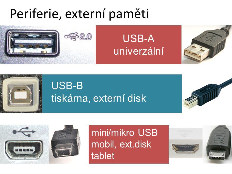mini/mikro USB mobil, ext.disk tablet Periferie, externí paměti USB-B tiskárna, externí disk USB-A univerzální