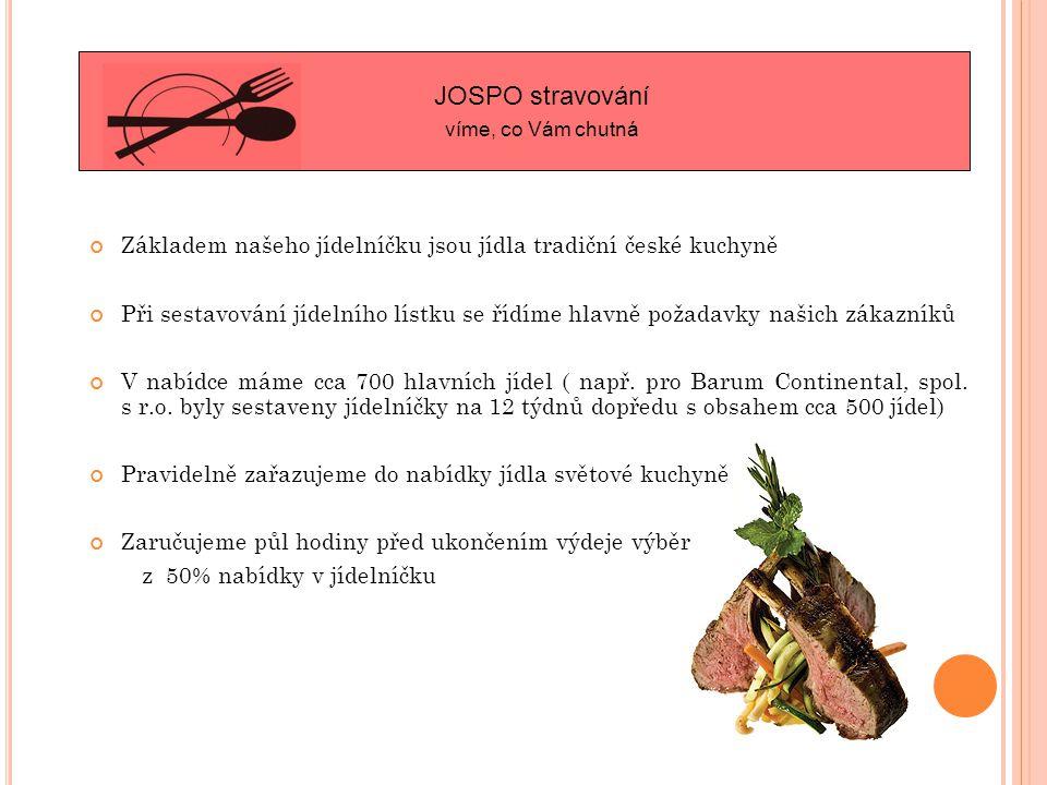 Základem našeho jídelníčku jsou jídla tradiční české kuchyně Při sestavování jídelního lístku se řídíme hlavně požadavky našich zákazníků V nabídce máme cca 700 hlavních jídel ( např.