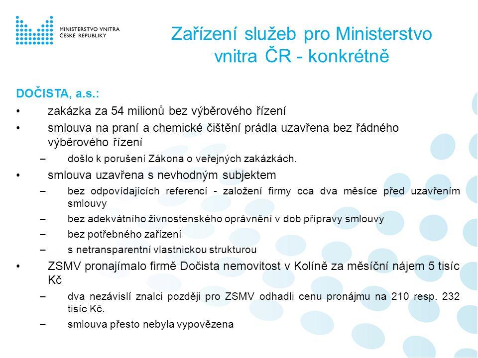 Zařízení služeb pro Ministerstvo vnitra ČR - konkrétně DOČISTA, a.s.: •zakázka za 54 milionů bez výběrového řízení •smlouva na praní a chemické čištění prádla uzavřena bez řádného výběrového řízení –došlo k porušení Zákona o veřejných zakázkách.