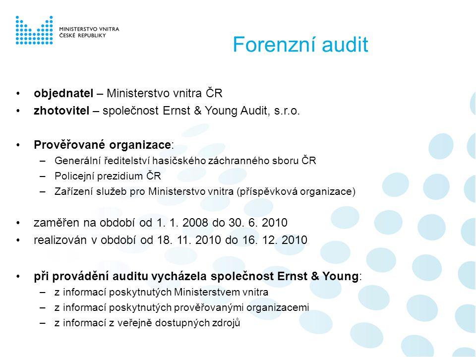 Předmět a rozsah auditu •předmět: prověření hospodaření a nakládání s majetkem •rozsah: –prověrka vybraných veřejných zakázek, smluvní a účetní dokumentace k nakládání se svěřeným majetkem –identifikace možných střetů zájmů vybraných zaměstnanců –identifikace konkrétních případů korupčního jednání –zjištění obchodních a dalších informací o subjektech a osobách, které se podílely na nestandardních jednáních –identifikace případných vztahů a vazeb takových osob a subjektů na vybrané zaměstnance –datová analýza indikátorů nestandardního, neetického nebo podvodného jednání