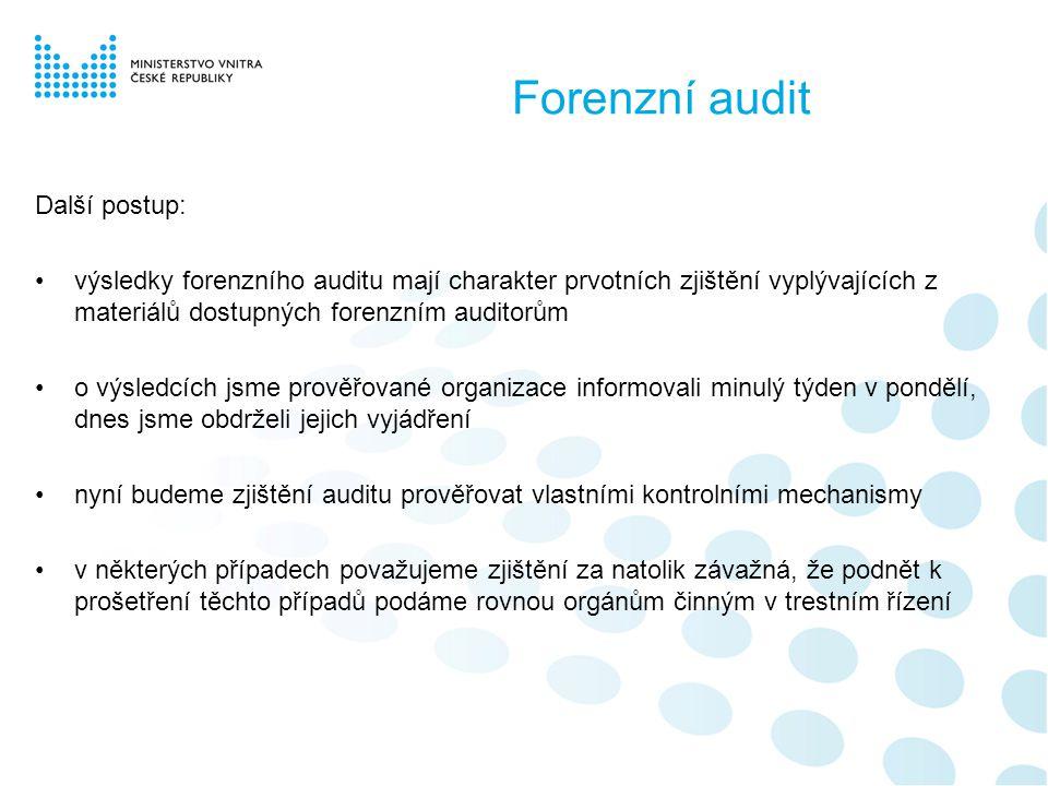 Forenzní audit Další postup: •výsledky forenzního auditu mají charakter prvotních zjištění vyplývajících z materiálů dostupných forenzním auditorům •o výsledcích jsme prověřované organizace informovali minulý týden v pondělí, dnes jsme obdrželi jejich vyjádření •nyní budeme zjištění auditu prověřovat vlastními kontrolními mechanismy •v některých případech považujeme zjištění za natolik závažná, že podnět k prošetření těchto případů podáme rovnou orgánům činným v trestním řízení