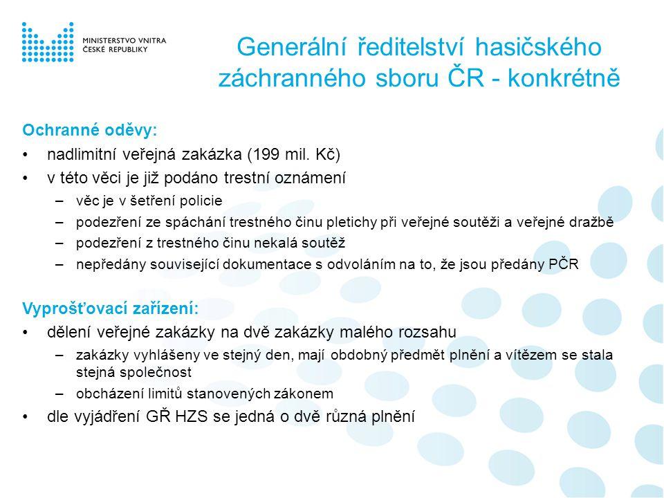 Zařízení služeb pro Ministerstvo vnitra ČR - konkrétně Veřejné zakázky: u všech je zjevné propojení dodavatelských firem, které vlastní stejná osoba •Kanceláře ZSMV –rozdíl nabídkových cen uchazečů je 5 %, mezi uchazeči docházelo k cenovým dohodám –nabídky všech uchazečů obsahují identické chyby v textu •Kuchyňka ZSMV –rozdíl nabídkových cen uchazečů je 8 %, mezi uchazeči docházelo k cenovým dohodám