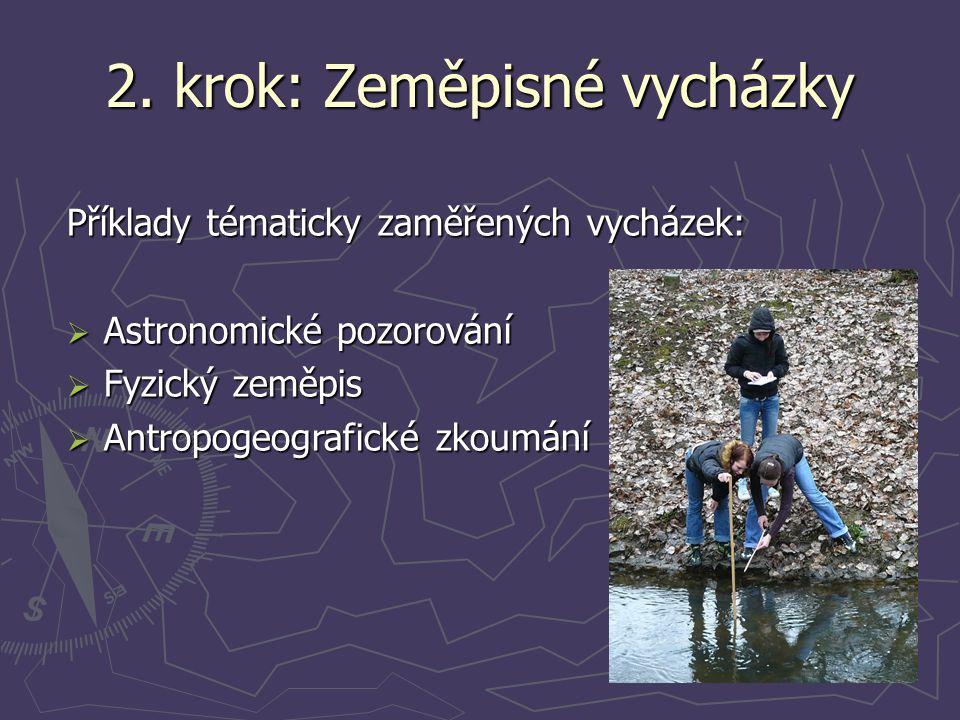 2. krok: Zeměpisné vycházky Příklady tématicky zaměřených vycházek:  Astronomické pozorování  Fyzický zeměpis  Antropogeografické zkoumání