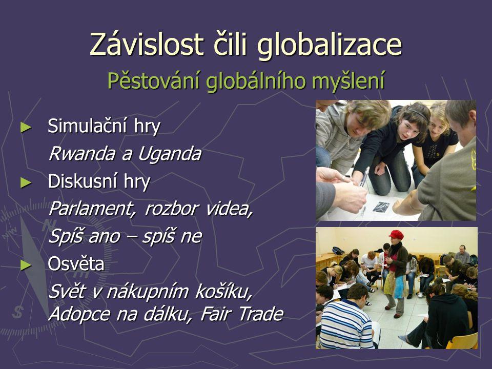 Závislost čili globalizace Pěstování globálního myšlení ► Simulační hry Rwanda a Uganda ► Diskusní hry Parlament, rozbor videa, Spíš ano – spíš ne ► O