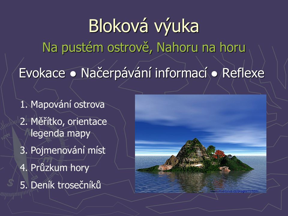 Bloková výuka Evokace ● Načerpávání informací ● Reflexe Na pustém ostrově, Nahoru na horu 1.Mapování ostrova 2.Měřítko, orientace legenda mapy 3.Pojme
