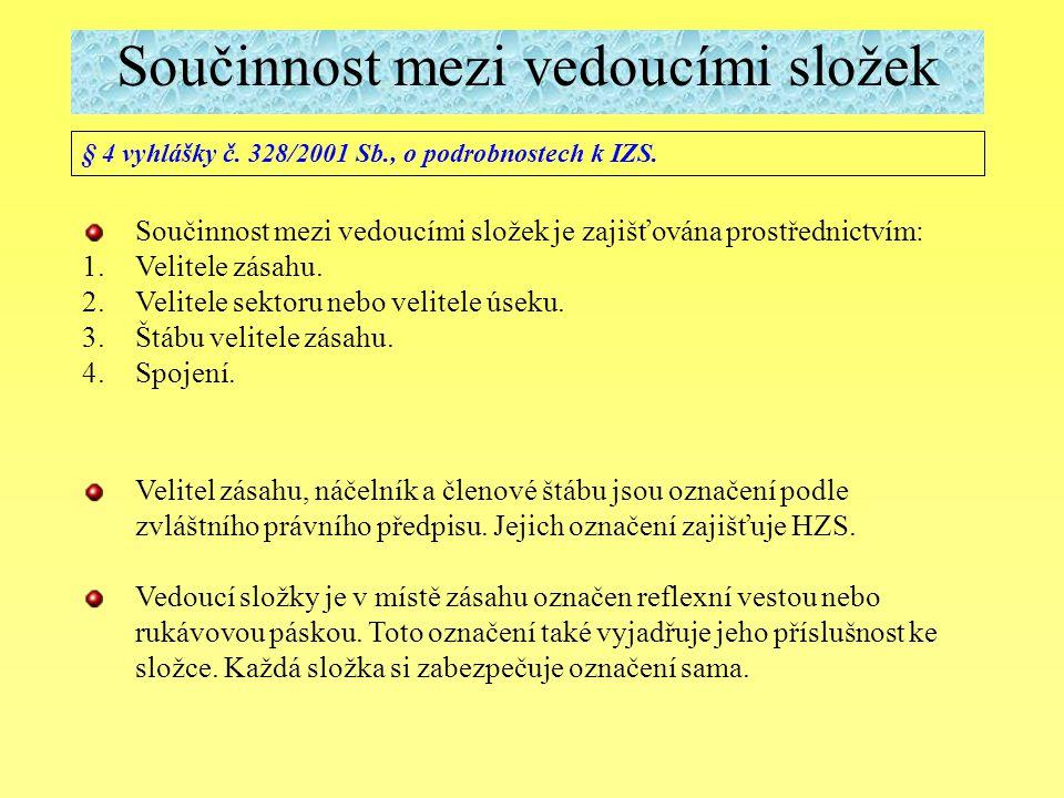 Součinnost mezi vedoucími složek § 4 vyhlášky č. 328/2001 Sb., o podrobnostech k IZS. Součinnost mezi vedoucími složek je zajišťována prostřednictvím: