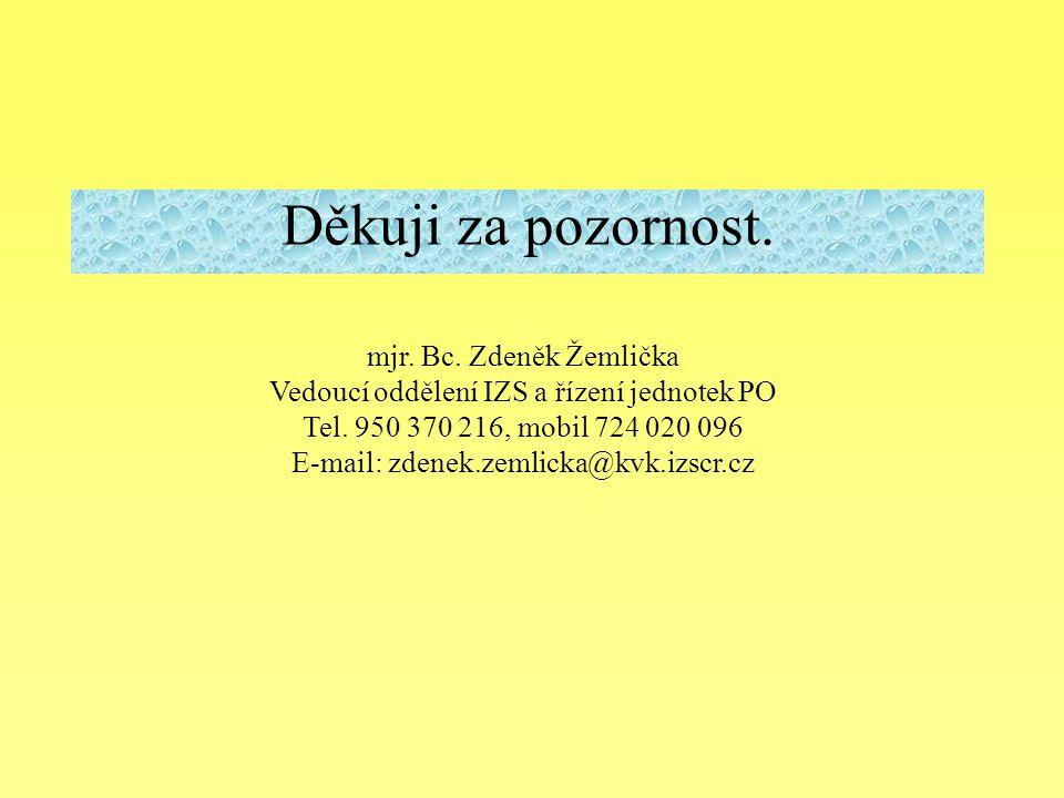 Děkuji za pozornost. mjr. Bc. Zdeněk Žemlička Vedoucí oddělení IZS a řízení jednotek PO Tel. 950 370 216, mobil 724 020 096 E-mail: zdenek.zemlicka@kv